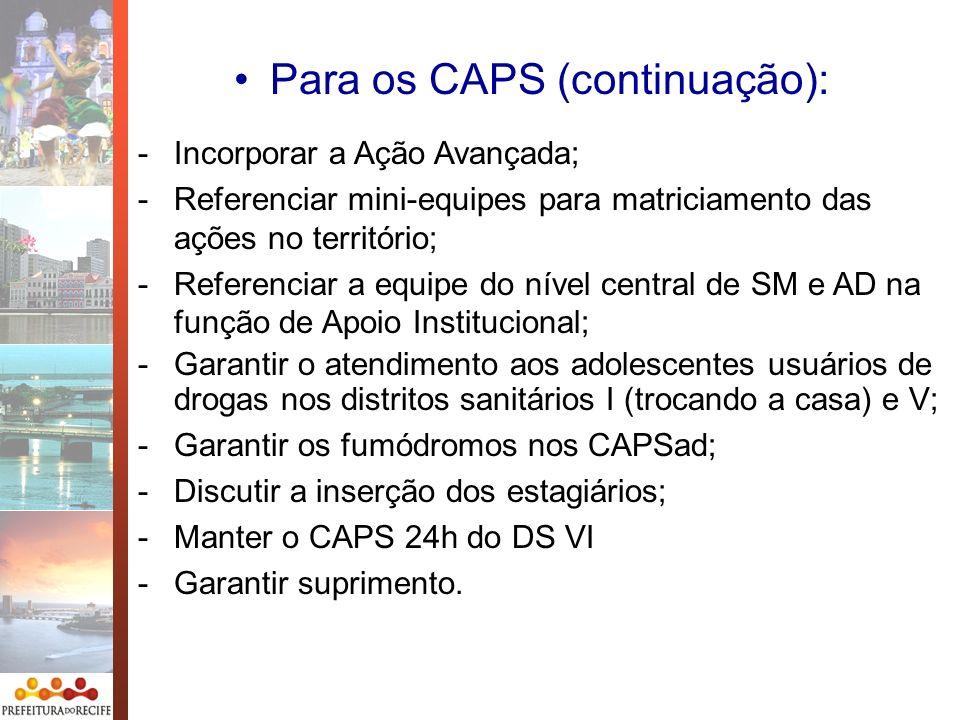 Para os CAPS (continuação):