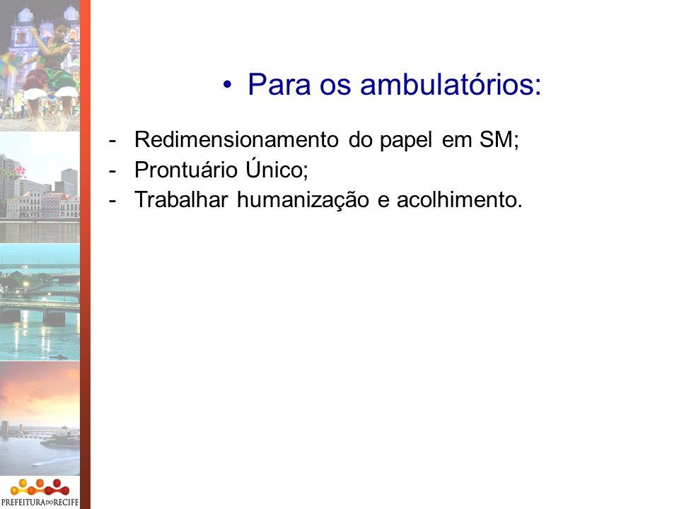 Para os ambulatórios: Redimensionamento do papel em SM;