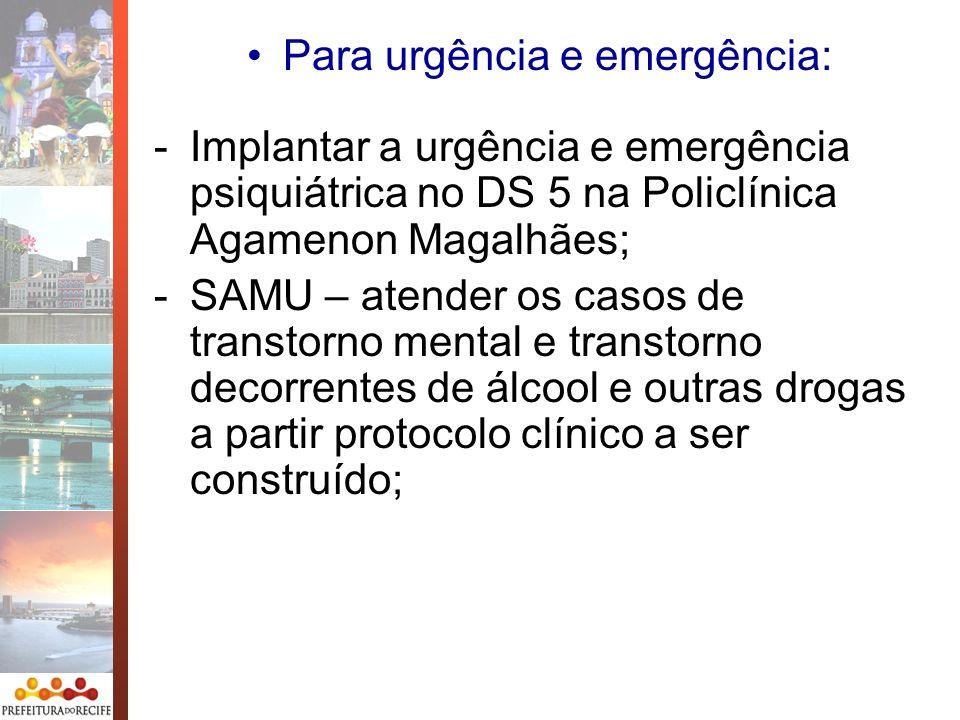 Para urgência e emergência: