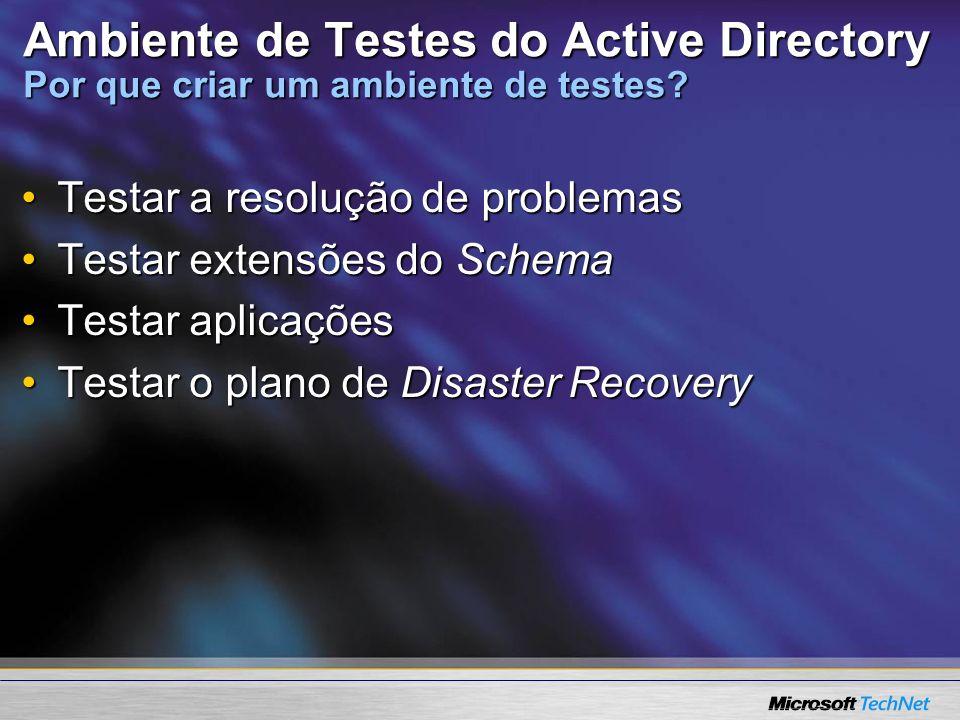Ambiente de Testes do Active Directory Por que criar um ambiente de testes