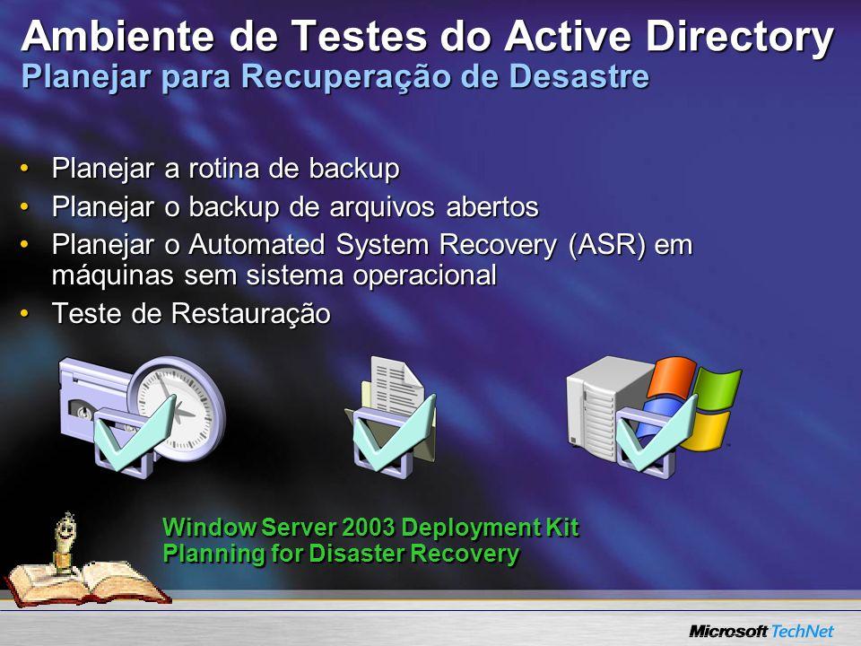 Ambiente de Testes do Active Directory Planejar para Recuperação de Desastre