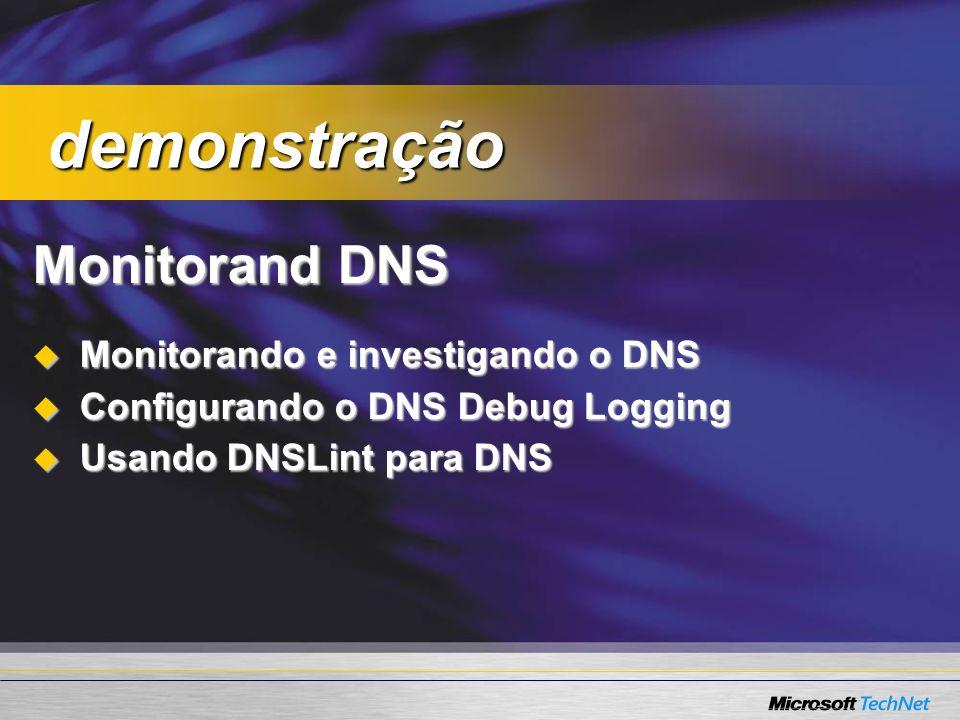 demonstração Monitorand DNS Monitorando e investigando o DNS