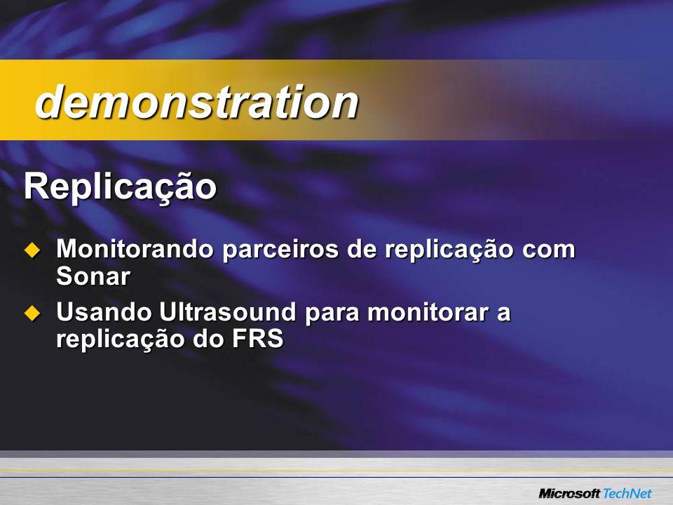 demonstration Replicação Monitorando parceiros de replicação com Sonar