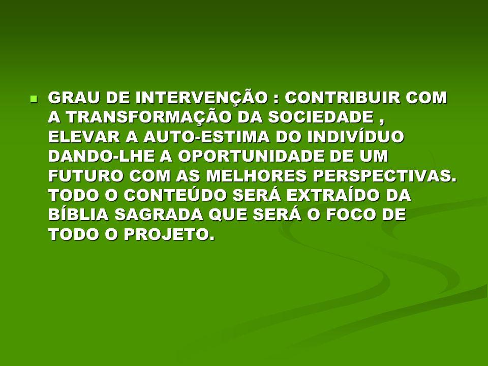 GRAU DE INTERVENÇÃO : CONTRIBUIR COM A TRANSFORMAÇÃO DA SOCIEDADE , ELEVAR A AUTO-ESTIMA DO INDIVÍDUO DANDO-LHE A OPORTUNIDADE DE UM FUTURO COM AS MELHORES PERSPECTIVAS.