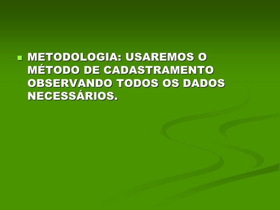 METODOLOGIA: USAREMOS O MÉTODO DE CADASTRAMENTO OBSERVANDO TODOS OS DADOS NECESSÁRIOS.