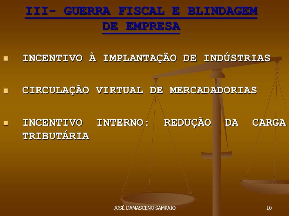 III- GUERRA FISCAL E BLINDAGEM DE EMPRESA