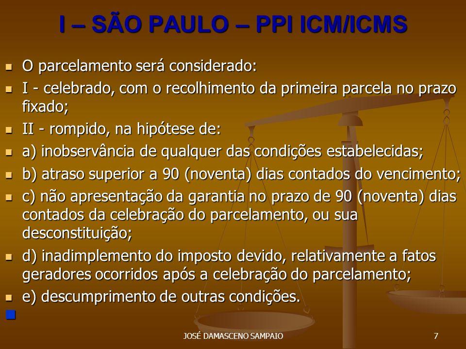 I – SÃO PAULO – PPI ICM/ICMS