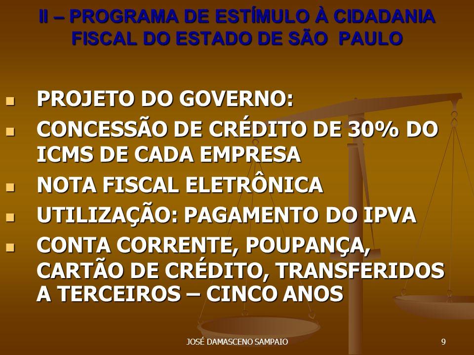 II – PROGRAMA DE ESTÍMULO À CIDADANIA FISCAL DO ESTADO DE SÃO PAULO