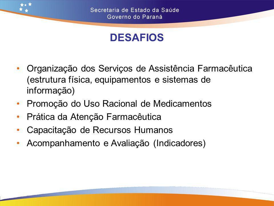 DESAFIOS Organização dos Serviços de Assistência Farmacêutica (estrutura física, equipamentos e sistemas de informação)