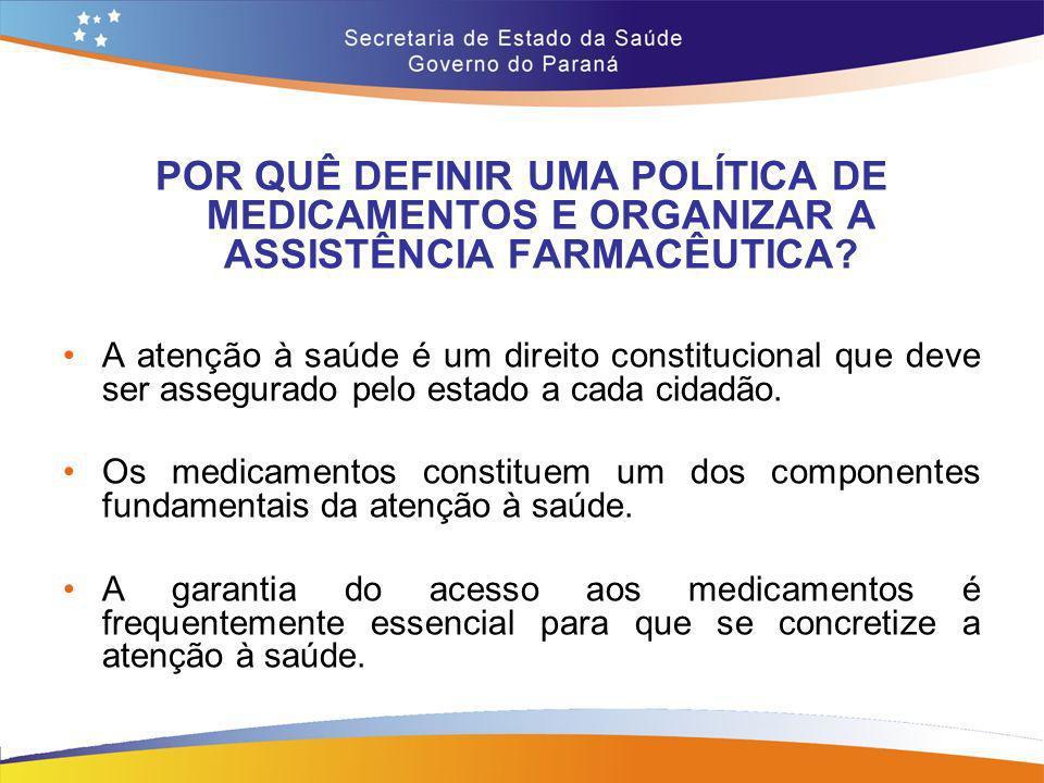 POR QUÊ DEFINIR UMA POLÍTICA DE MEDICAMENTOS E ORGANIZAR A ASSISTÊNCIA FARMACÊUTICA
