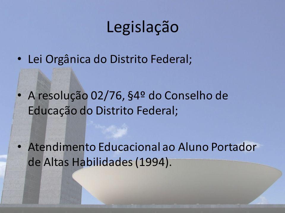 Legislação Lei Orgânica do Distrito Federal;