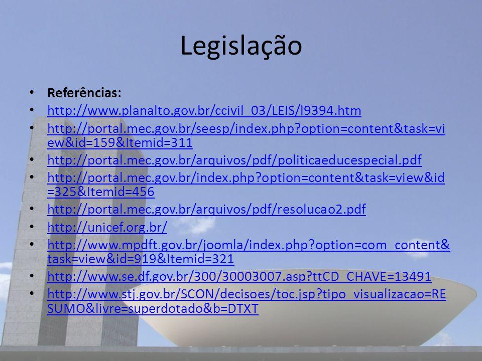 Legislação Referências: