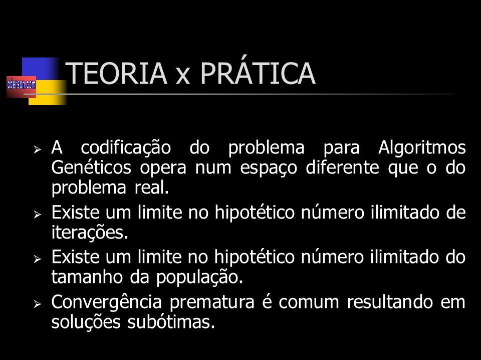 TEORIA x PRÁTICA A codificação do problema para Algoritmos Genéticos opera num espaço diferente que o do problema real.