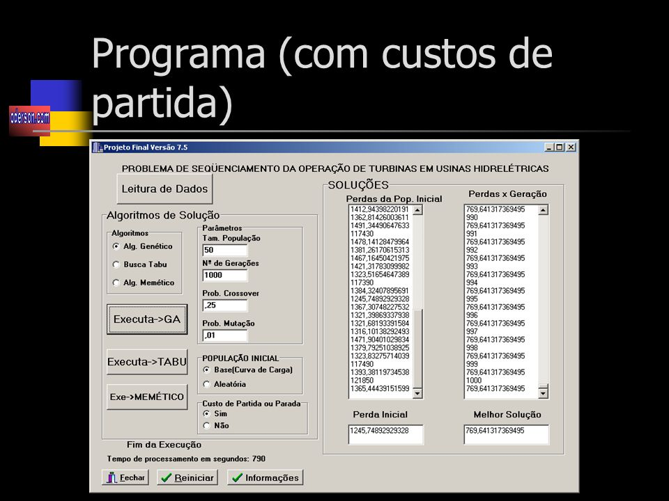 Programa (com custos de partida)