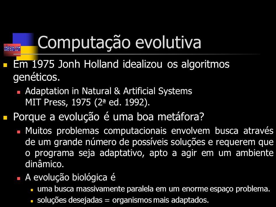 Computação evolutiva Em 1975 Jonh Holland idealizou os algoritmos genéticos.