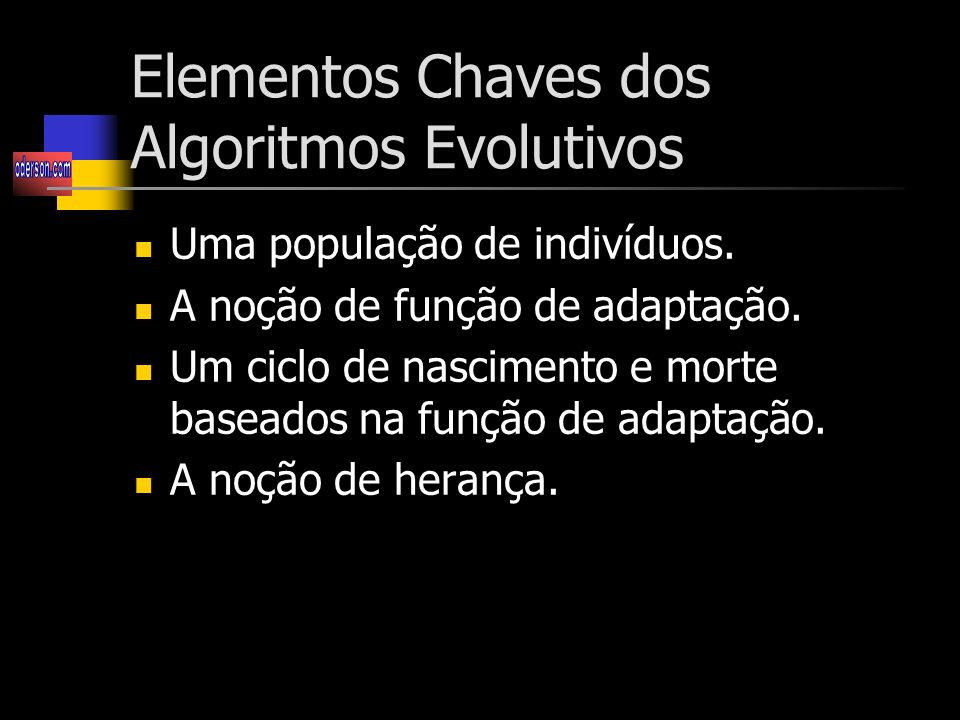 Elementos Chaves dos Algoritmos Evolutivos