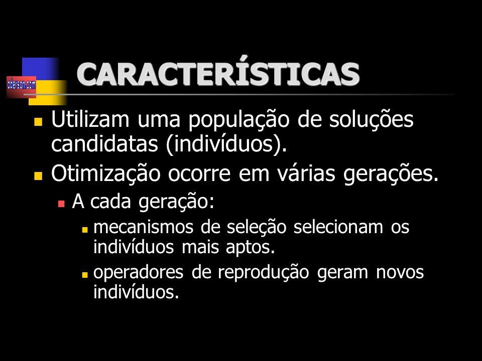 CARACTERÍSTICAS Utilizam uma população de soluções candidatas (indivíduos). Otimização ocorre em várias gerações.