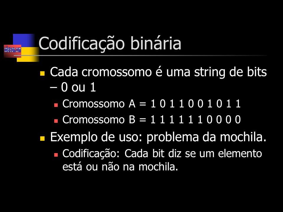 Codificação binária Cada cromossomo é uma string de bits – 0 ou 1