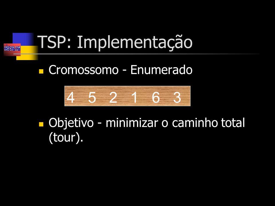 TSP: Implementação 4 5 2 1 6 3 Cromossomo - Enumerado