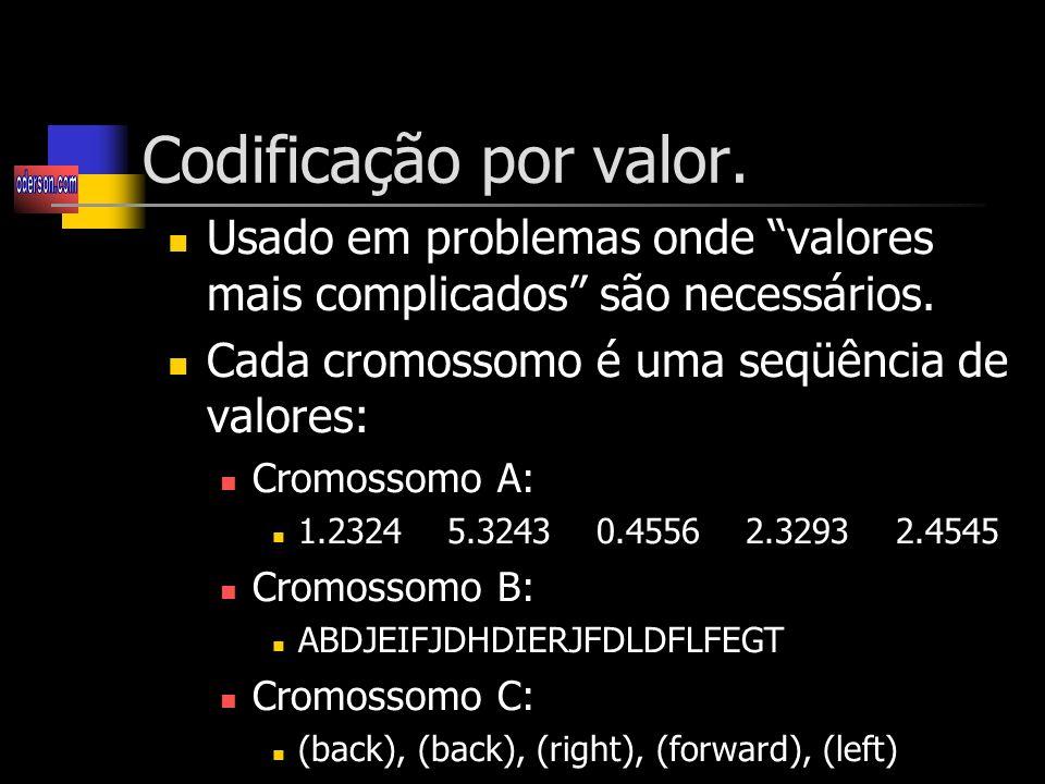 Codificação por valor. Usado em problemas onde valores mais complicados são necessários. Cada cromossomo é uma seqüência de valores:
