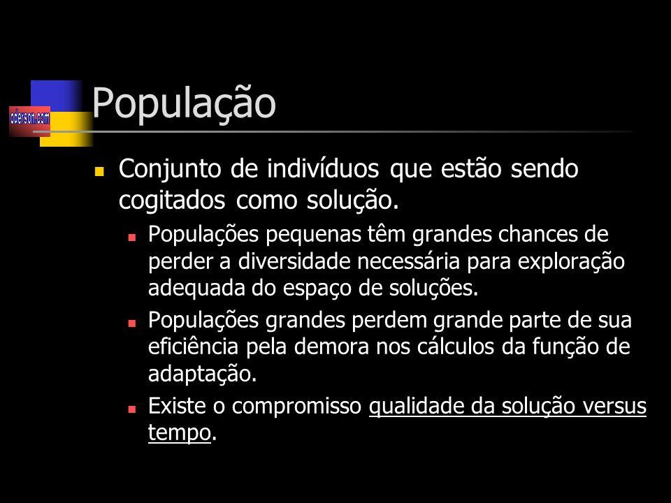 População Conjunto de indivíduos que estão sendo cogitados como solução.