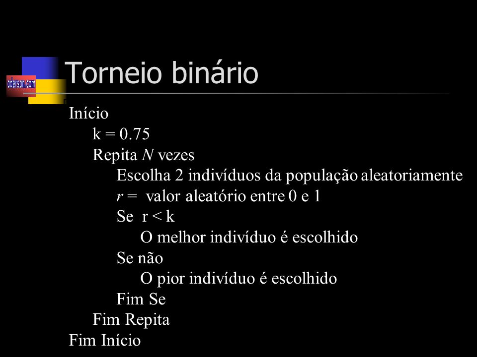 Torneio binário Início k = 0.75 Repita N vezes