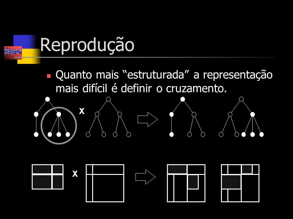 Reprodução Quanto mais estruturada a representação mais difícil é definir o cruzamento. X X