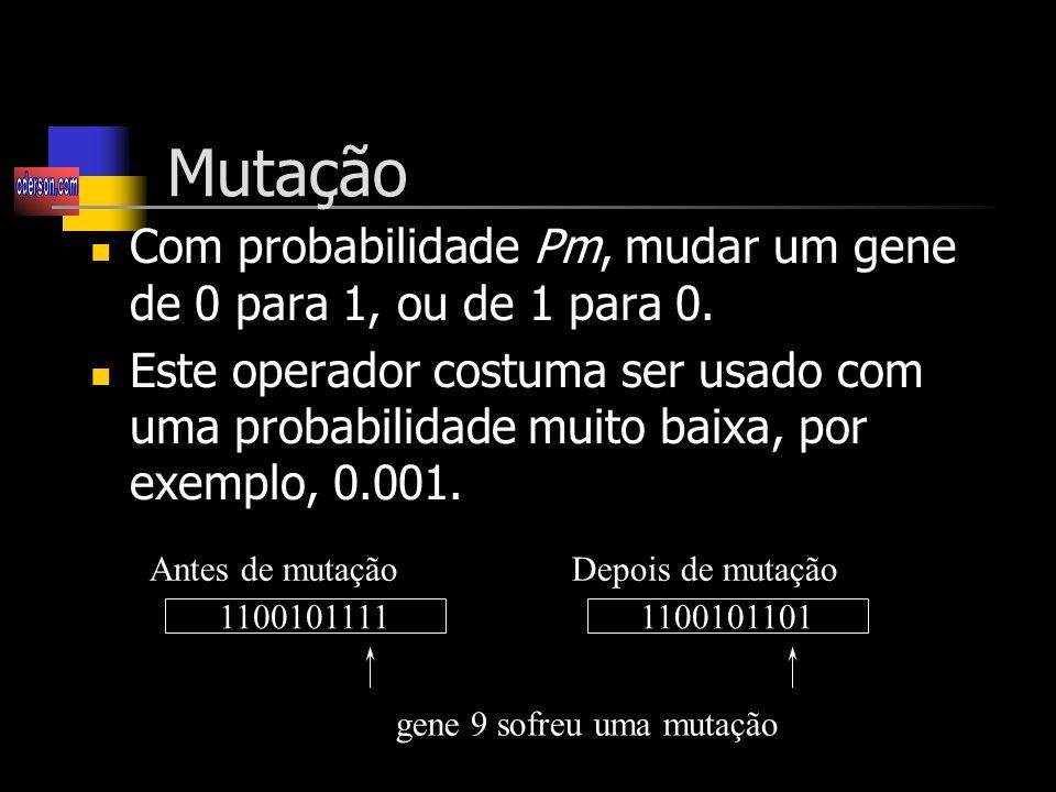 Mutação Com probabilidade Pm, mudar um gene de 0 para 1, ou de 1 para 0.