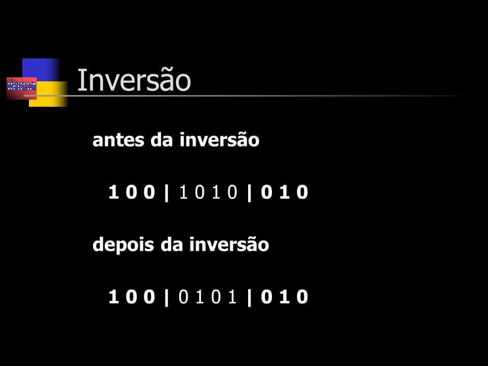 Inversão antes da inversão 1 0 0 | 1 0 1 0 | 0 1 0 depois da inversão