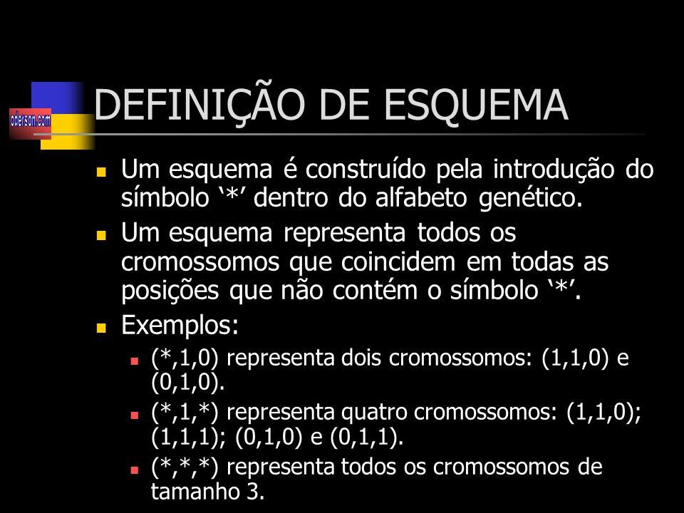 DEFINIÇÃO DE ESQUEMA Um esquema é construído pela introdução do símbolo '*' dentro do alfabeto genético.