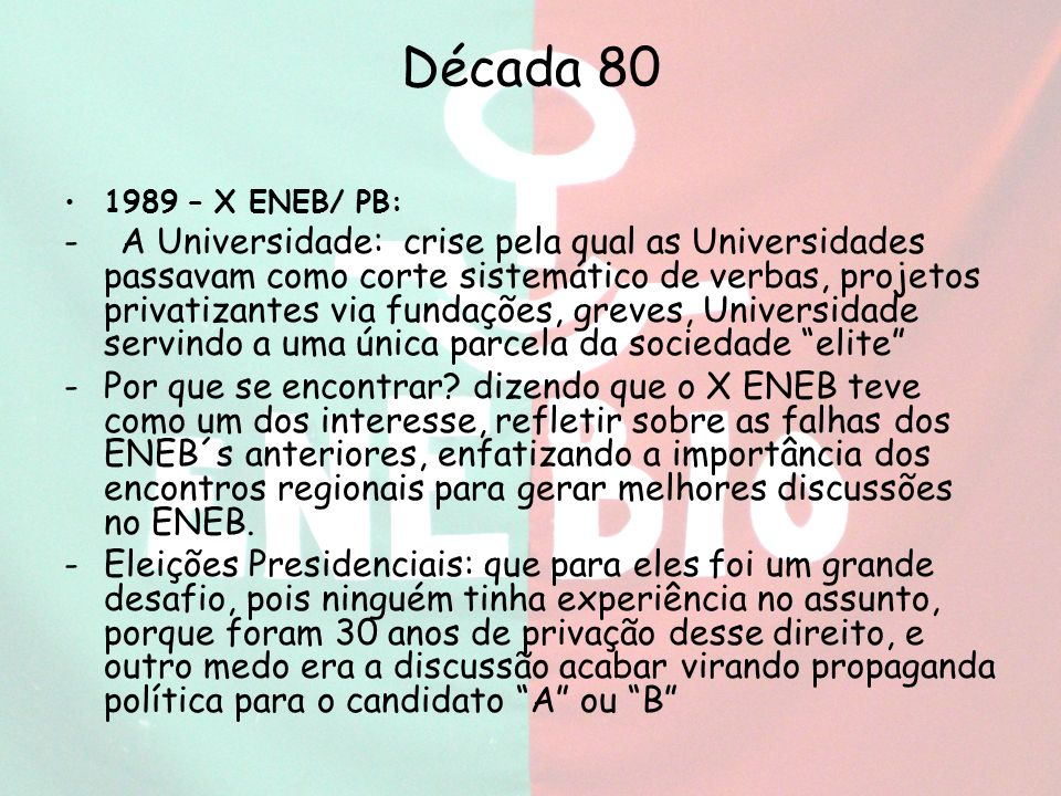 Década 80 1989 – X ENEB/ PB: