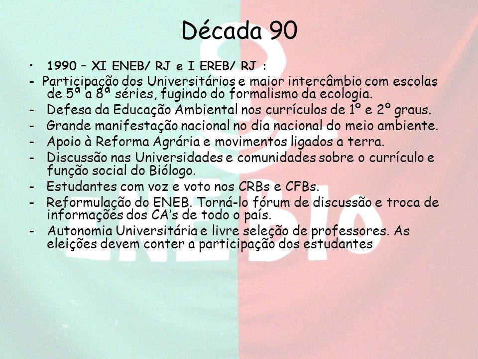 Década 90 1990 – XI ENEB/ RJ e I EREB/ RJ :