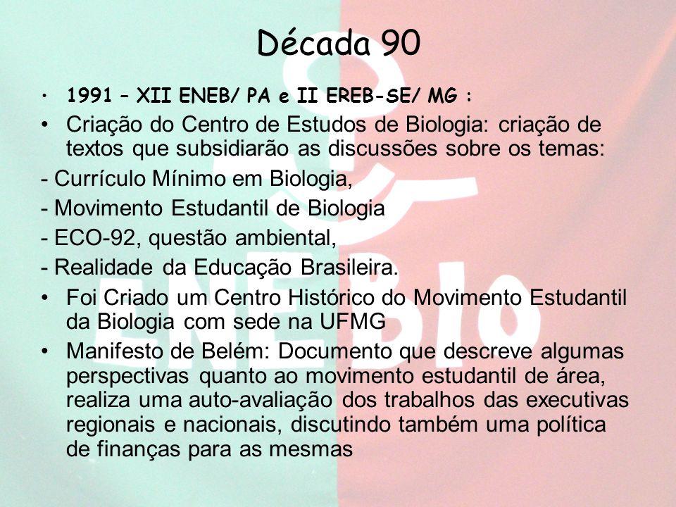 Década 90 1991 – XII ENEB/ PA e II EREB-SE/ MG :