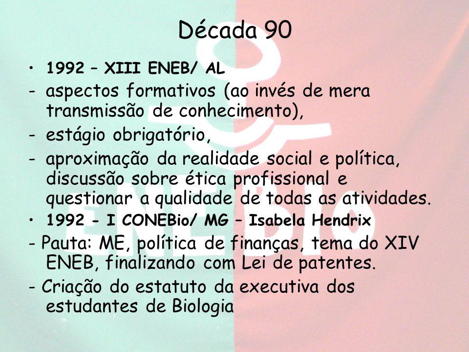 Década 90 1992 – XIII ENEB/ AL. aspectos formativos (ao invés de mera transmissão de conhecimento),