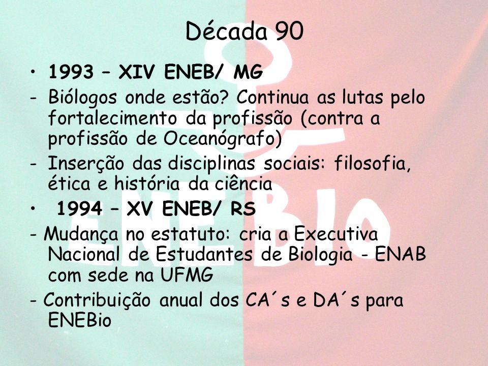Década 90 1993 – XIV ENEB/ MG. Biólogos onde estão Continua as lutas pelo fortalecimento da profissão (contra a profissão de Oceanógrafo)