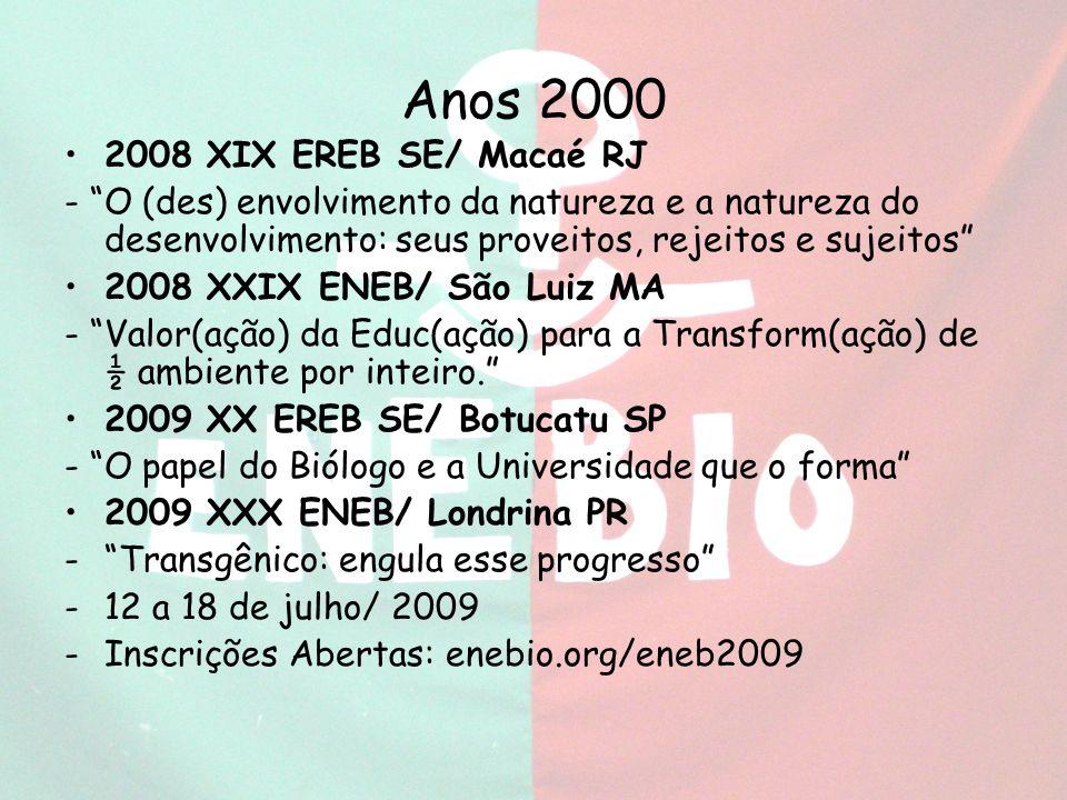 Anos 2000 2008 XIX EREB SE/ Macaé RJ