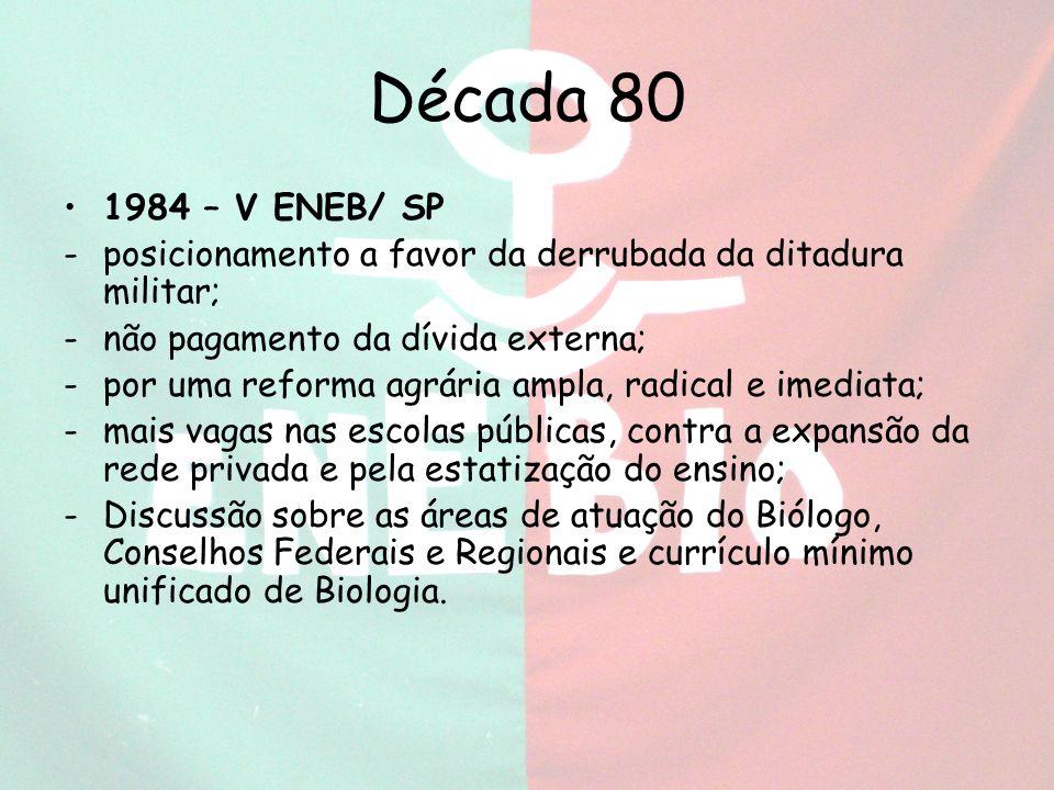Década 80 1984 – V ENEB/ SP. posicionamento a favor da derrubada da ditadura militar; não pagamento da dívida externa;