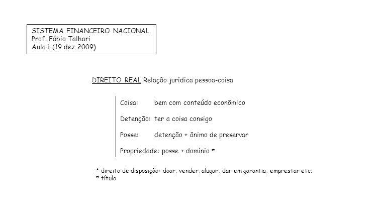 SISTEMA FINANCEIRO NACIONAL Prof. Fábio Talhari Aula 1 (19 dez 2009)