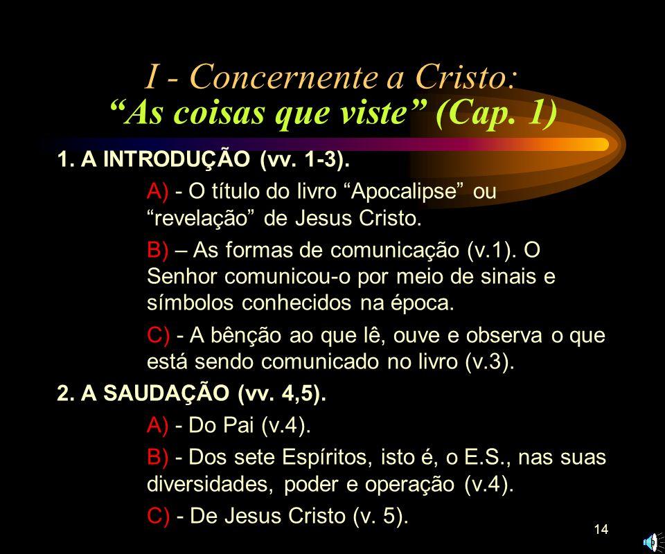 I - Concernente a Cristo: As coisas que viste (Cap. 1)