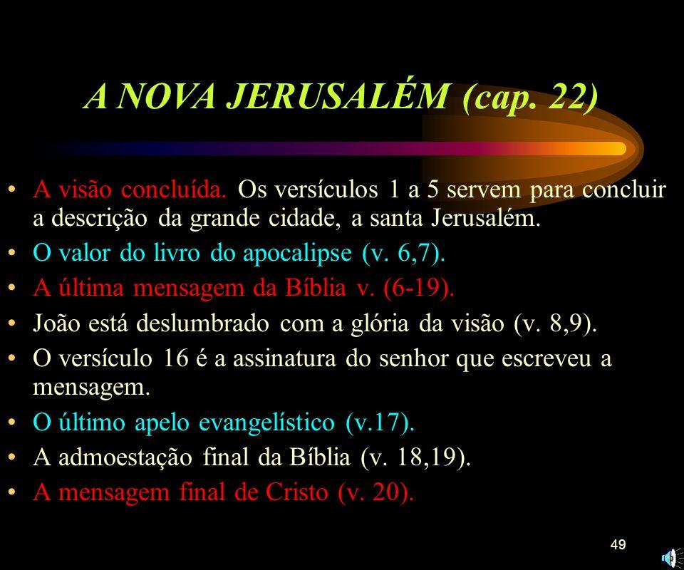 A NOVA JERUSALÉM (cap. 22)A visão concluída. Os versículos 1 a 5 servem para concluir a descrição da grande cidade, a santa Jerusalém.
