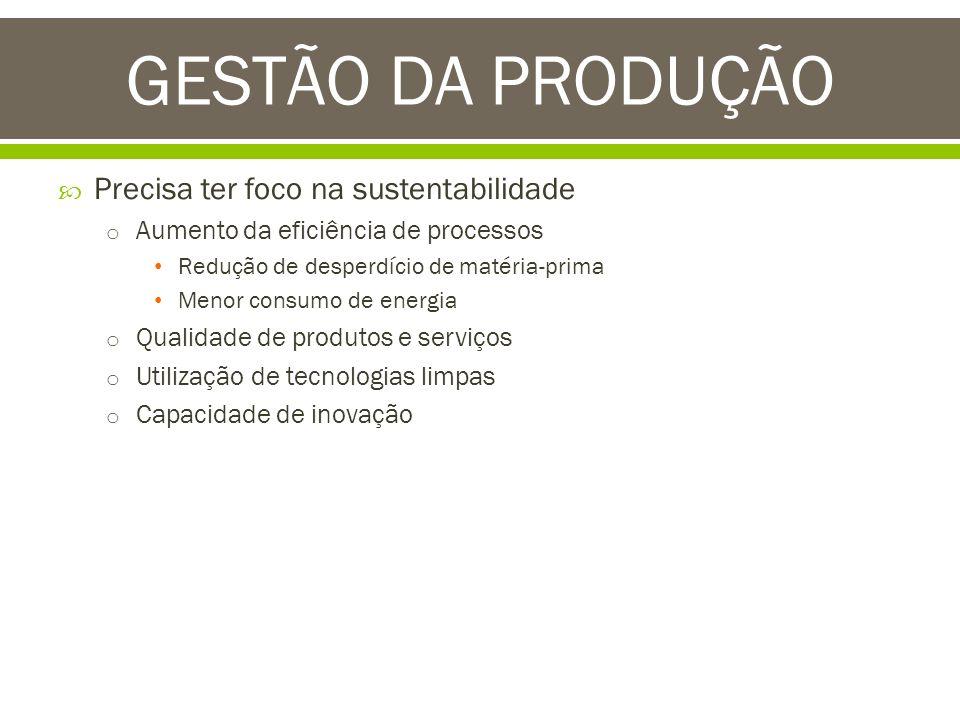 GESTÃO DA PRODUÇÃO Precisa ter foco na sustentabilidade