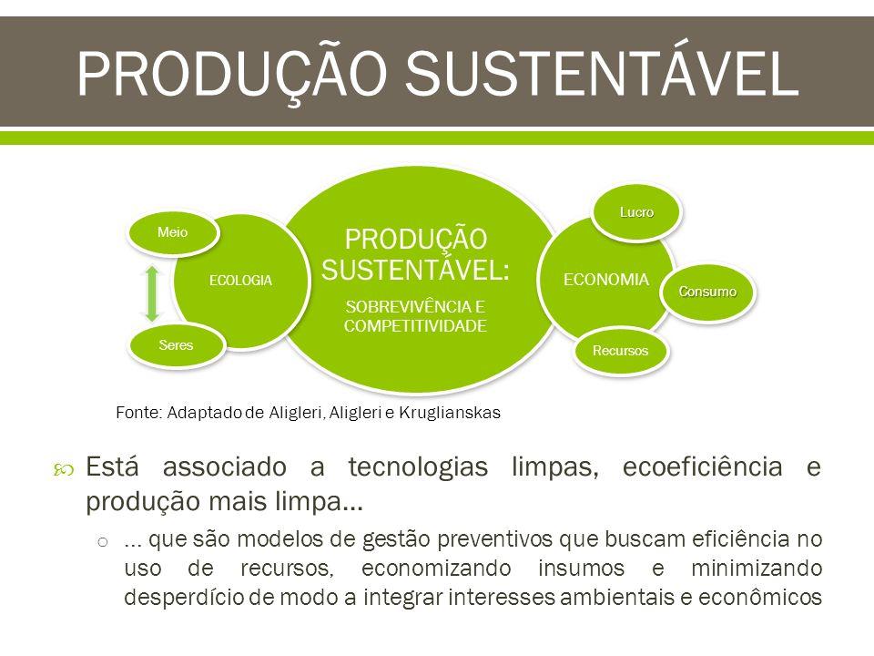 PRODUÇÃO SUSTENTÁVEL PRODUÇÃO SUSTENTÁVEL: