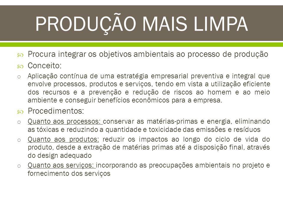 PRODUÇÃO MAIS LIMPA Procura integrar os objetivos ambientais ao processo de produção. Conceito: