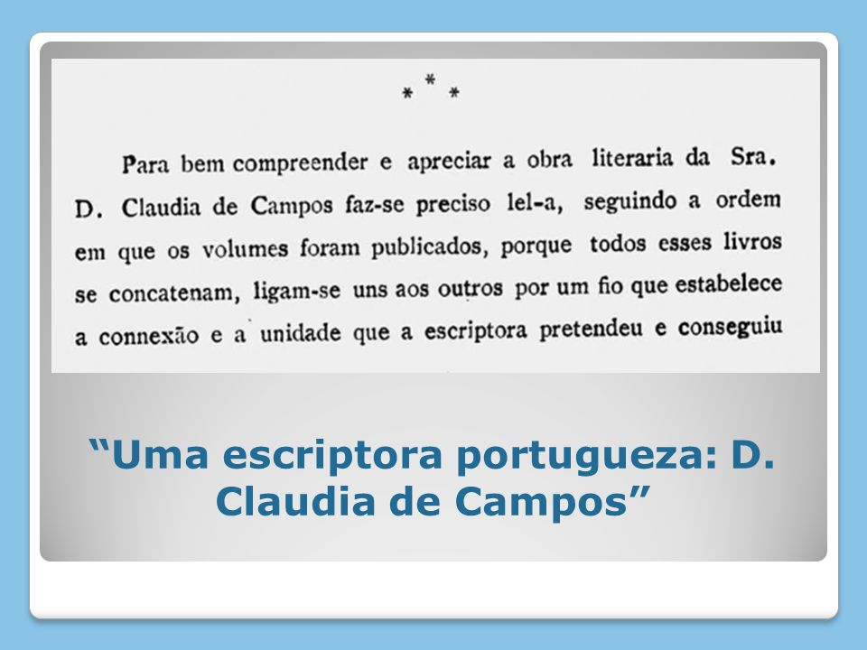 Uma escriptora portugueza: D. Claudia de Campos