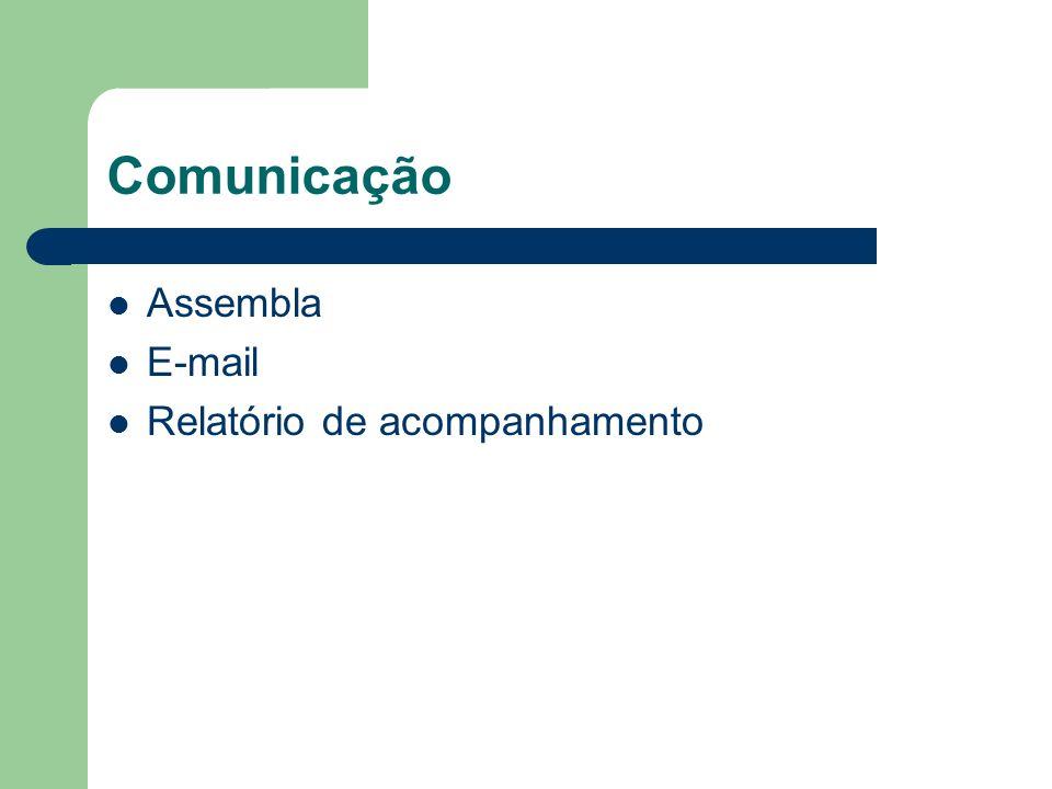 Comunicação Assembla E-mail Relatório de acompanhamento