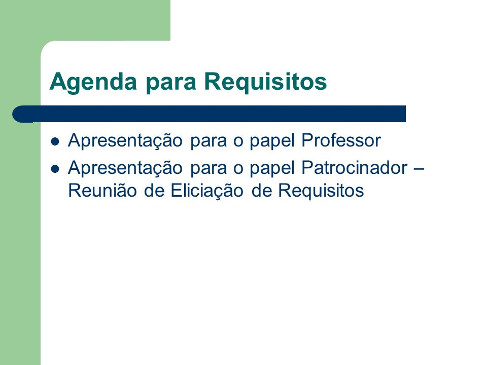 Agenda para Requisitos