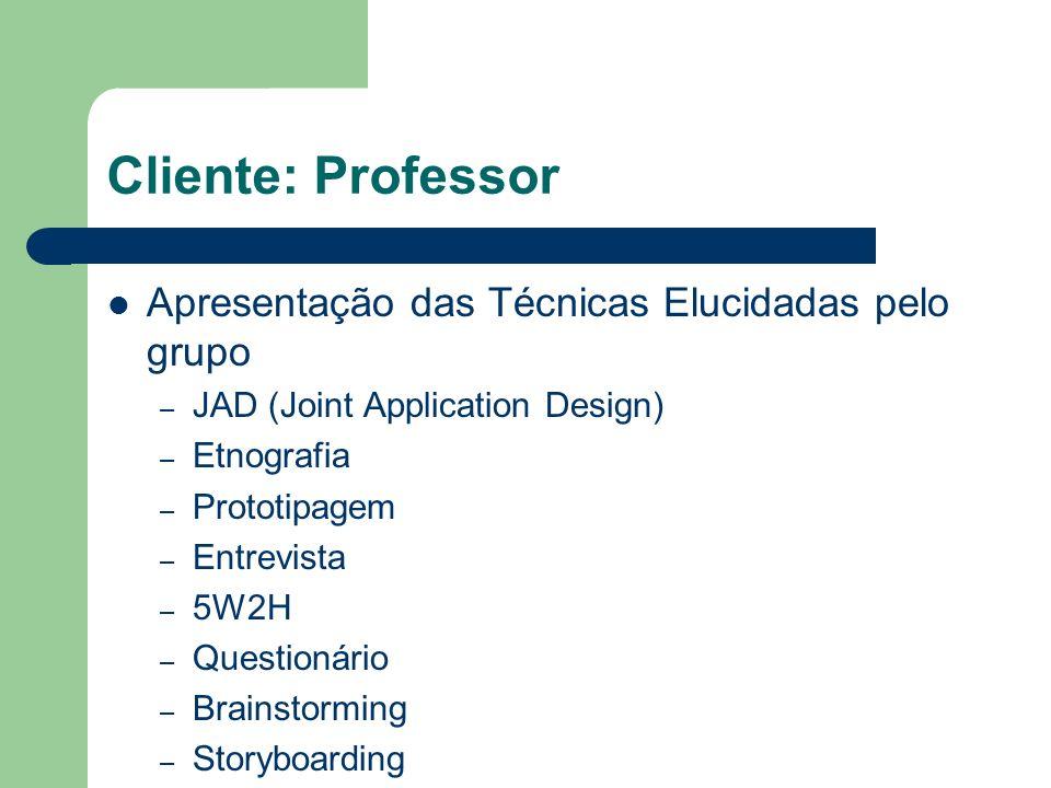 Cliente: Professor Apresentação das Técnicas Elucidadas pelo grupo