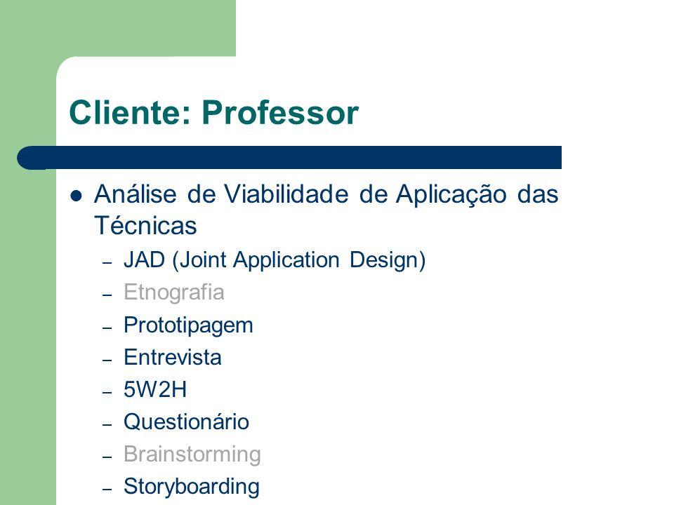 Cliente: Professor Análise de Viabilidade de Aplicação das Técnicas