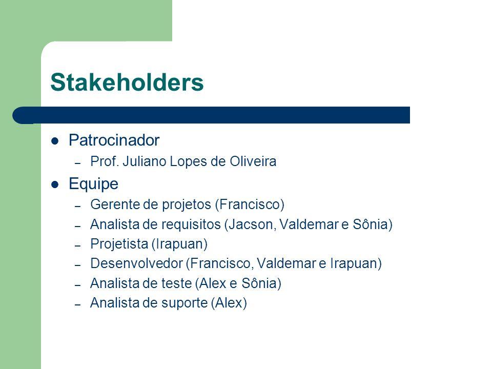 Stakeholders Patrocinador Equipe Prof. Juliano Lopes de Oliveira