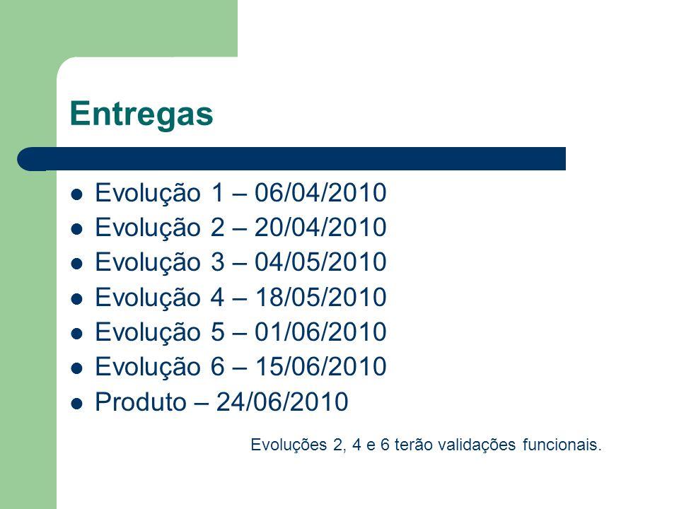 Entregas Evolução 1 – 06/04/2010 Evolução 2 – 20/04/2010